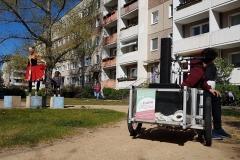 Transport der Lautsprecher Technik für die AWO Tanzaktion